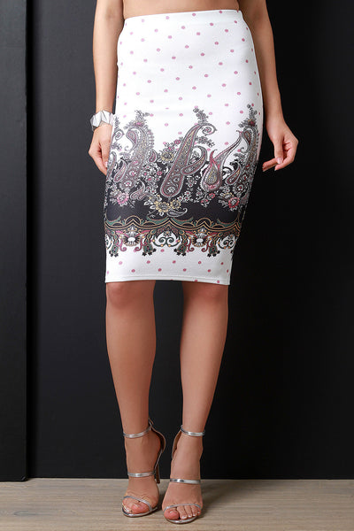 Paisley Floral Pattern High Waist Pencil Skirt
