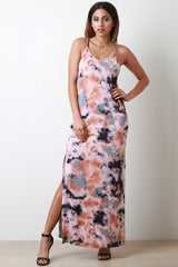 Tie Dye Deep V-Neck Slit Maxi Dress