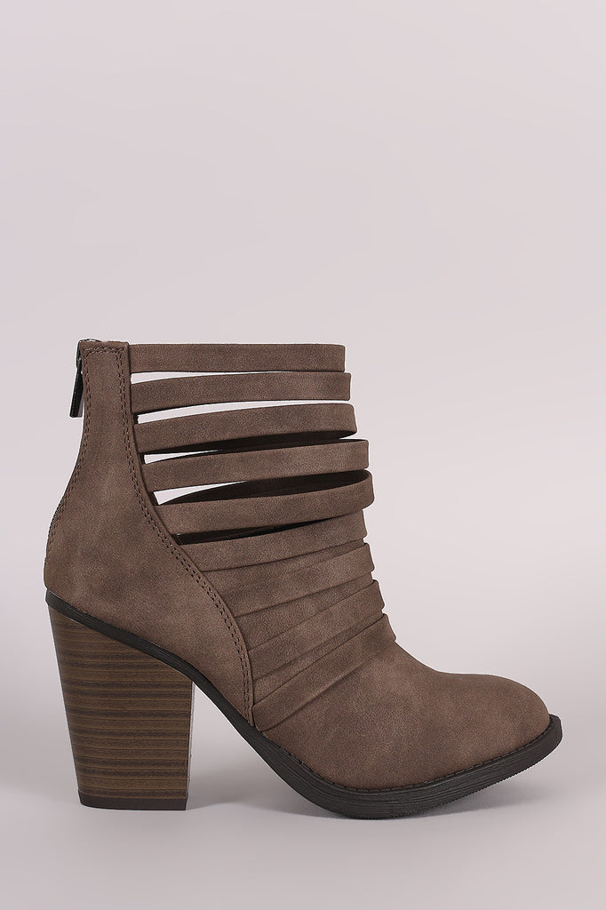 Soda Distressed Strappy Cuff Chunky Heeled Booties