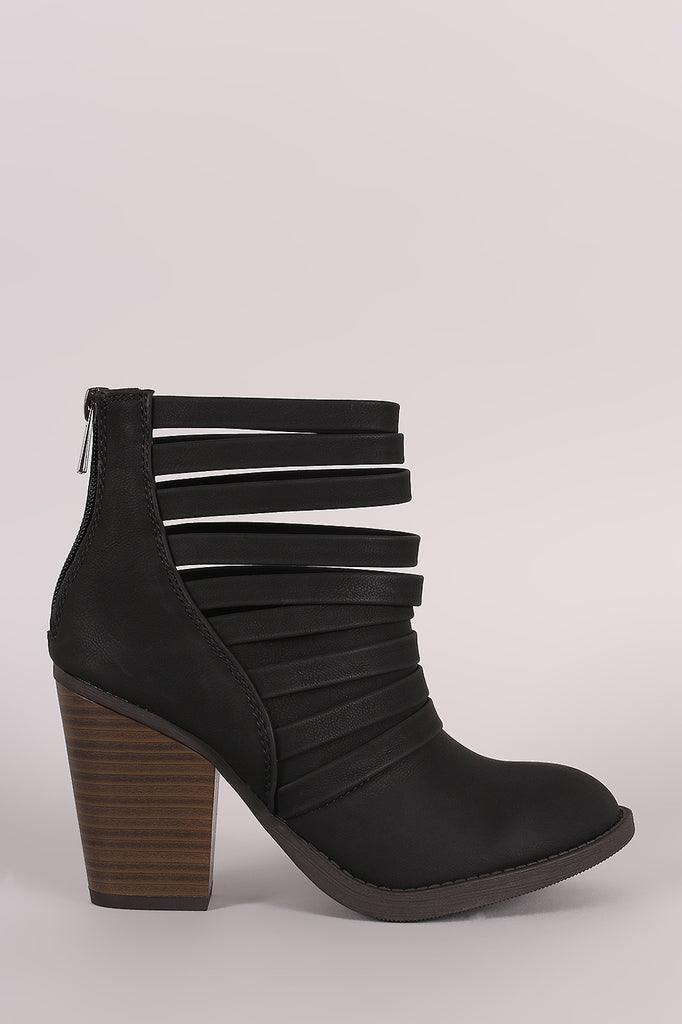 Soda Strappy Cuff Chunky Heeled Booties