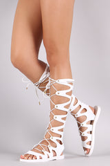 Strappy Gladiator Lace-Up Jelly Flat Sandal