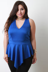 V Neck Sleeveless Angle Hem Peplum Top