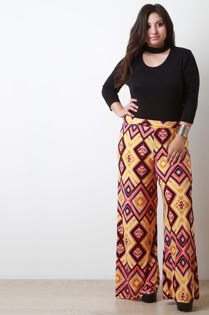 Diamond Pattern Print Wide Leg Pants