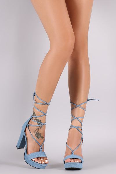 Denim Lace-Up Chunky Platform Heel