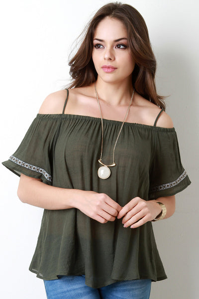 Cold Shoulder Embroidered Sleeve Woven Top