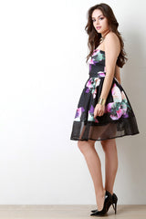 Strapless Floral Print Mesh Trim Skater Dress
