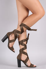 Suede Ribbon Wrap Open Toe Chunky Heel