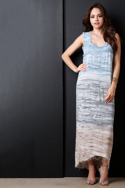 Multicolor Abstract Watercolor Frayed Maxi Dress
