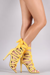Suede Strappy Chiffon Lace-Up Open Toe Heel