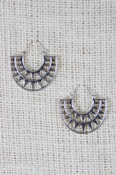 Aztec Semi Circle Dangle Earrings