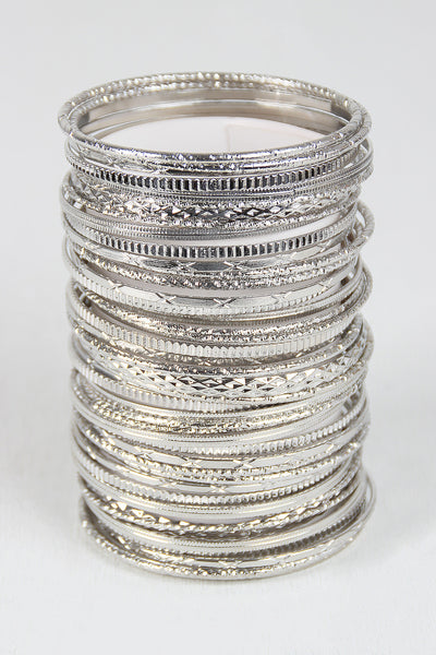 Line Etched Multi Bangle Set
