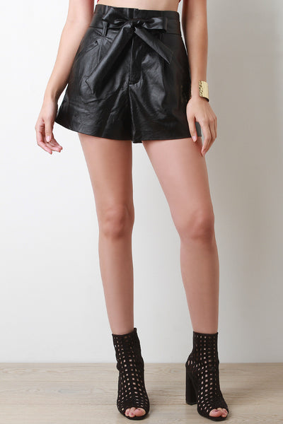 Vegan Leather Belted High Waist Shorts