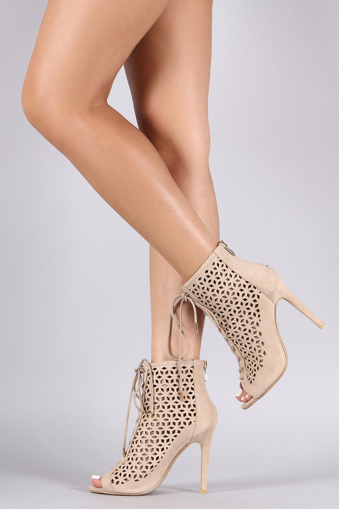Perforated Suede Lace-Up Stiletto Booties