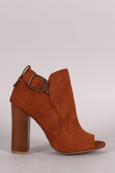 Bamboo Open Toe Chunky Heel Buckle Booties