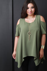 Textured Chiffon Cold Shoulder Handkerchief Hem Necklace Top