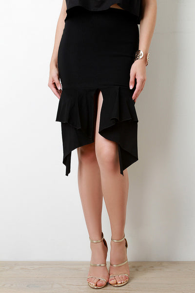 Pleated Peplum High Waisted Pencil Skirt