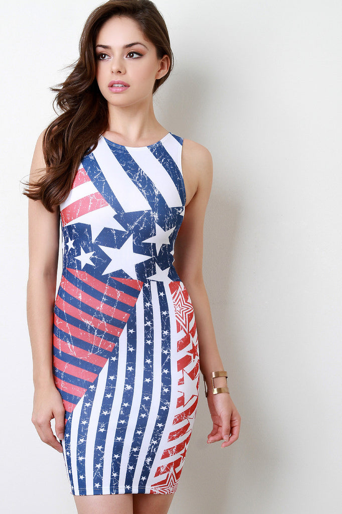 Cracked Stars and Stripes Midi Dress