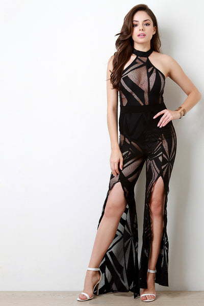 Patterned Fishnet Choker Wide Leg Slit Jumpsuit
