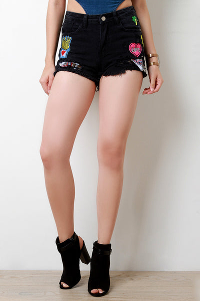 Love Patch Distressed Denim Shorts
