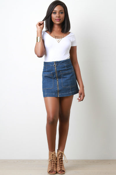Zip Up Denim Skirt