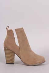 Suede Side Cutout Chunky Heeled Booties