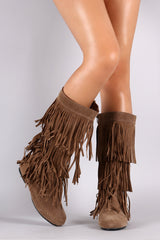 Suede Three Layer Fringe Mid Calf Boots