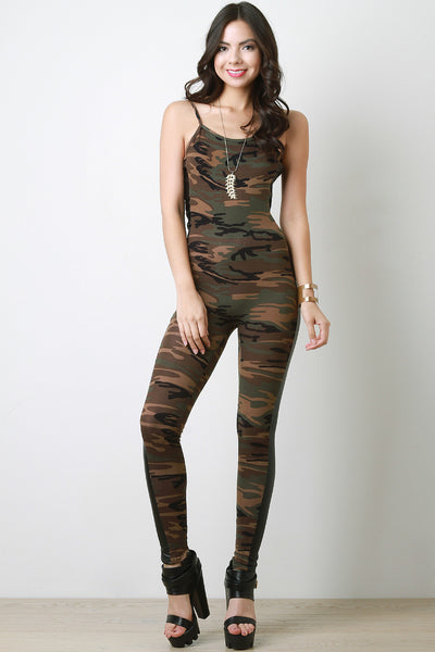 Camouflage Vegan Leather Panel Cami Jumpsuit