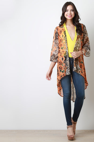 Rosette And Leopard Chiffon Open Front Cardigan