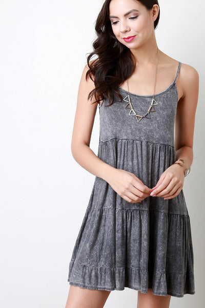 Acid Wash Ruffle Shift Dress - JDI Threads