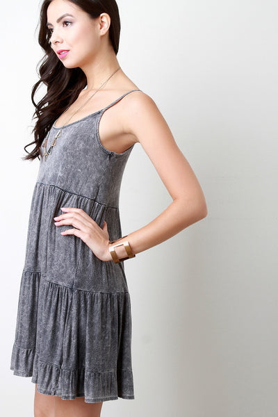 Acid Wash Ruffle Shift Dress