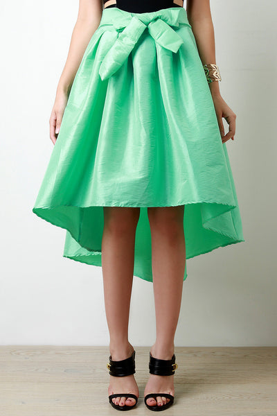 Front Bow Tie High Low Taffeta Skirt