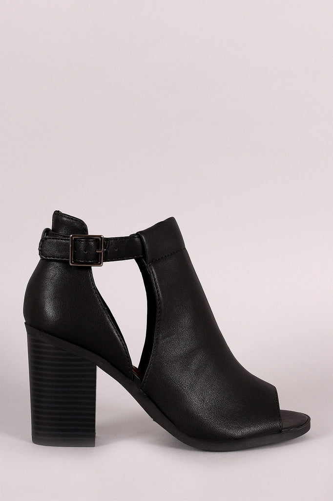 Soda Side Cutout Ankle Strap Chunky Heeled Booties