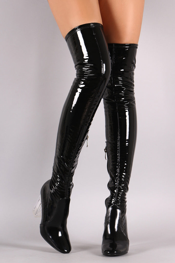 Patent Leather Chunky Lucite Heeled Over-The-Knee Boots