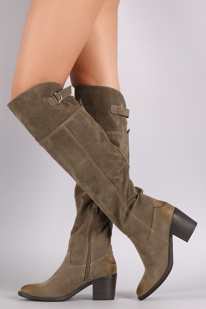 Qupid Suede Slit Buckled Strap Chunky Heeled Boots