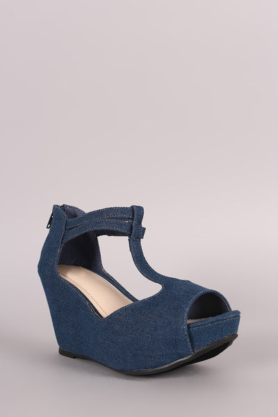 Denim Peep Toe T-Strap Platform Wedge