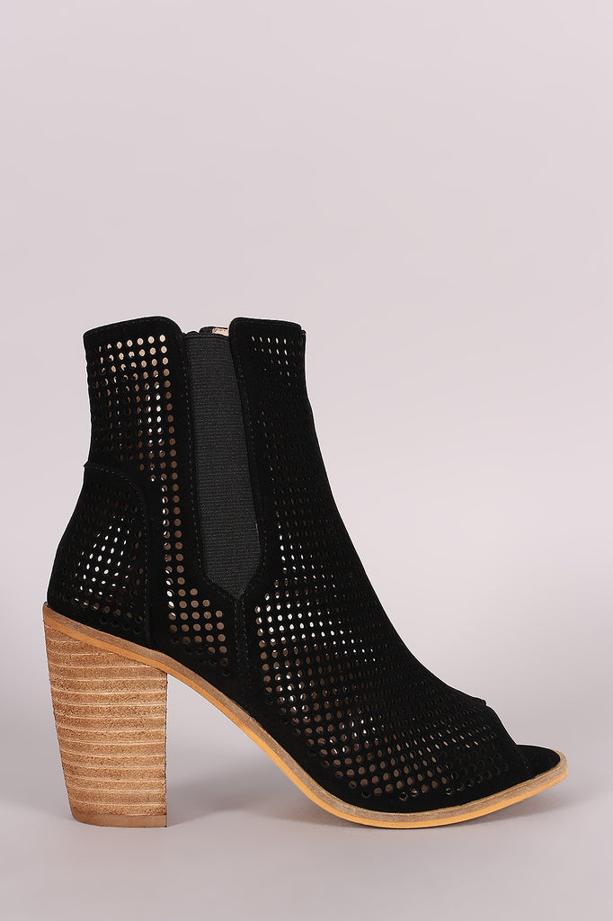 Perforated Peep Toe Chunky Heeled Booties