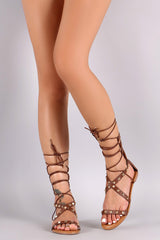 Bamboo Prism Studded Lace Up Flat Sandal