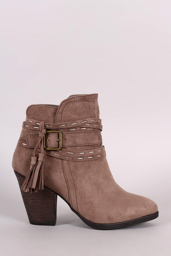 Bamboo Wrap-Around Tassel Chunky Heel Booties