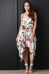 Floral Sleeveless Handkerchief Hem Trapeze Dress