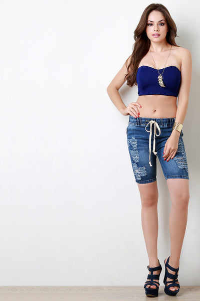 Distressed Denim Knee-Length Shorts