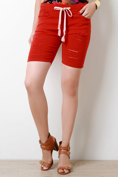 Razor-Cut Self-Tie Slim Fit Shorts