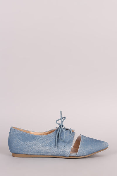 Liliana Denim Print Lucite Inset Lace-Up Oxford Flat
