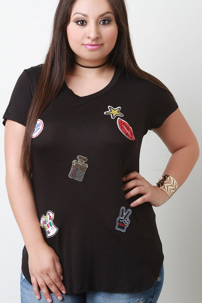 Assorted Sequin Patches Short Sleeves Tee - JDI Threads