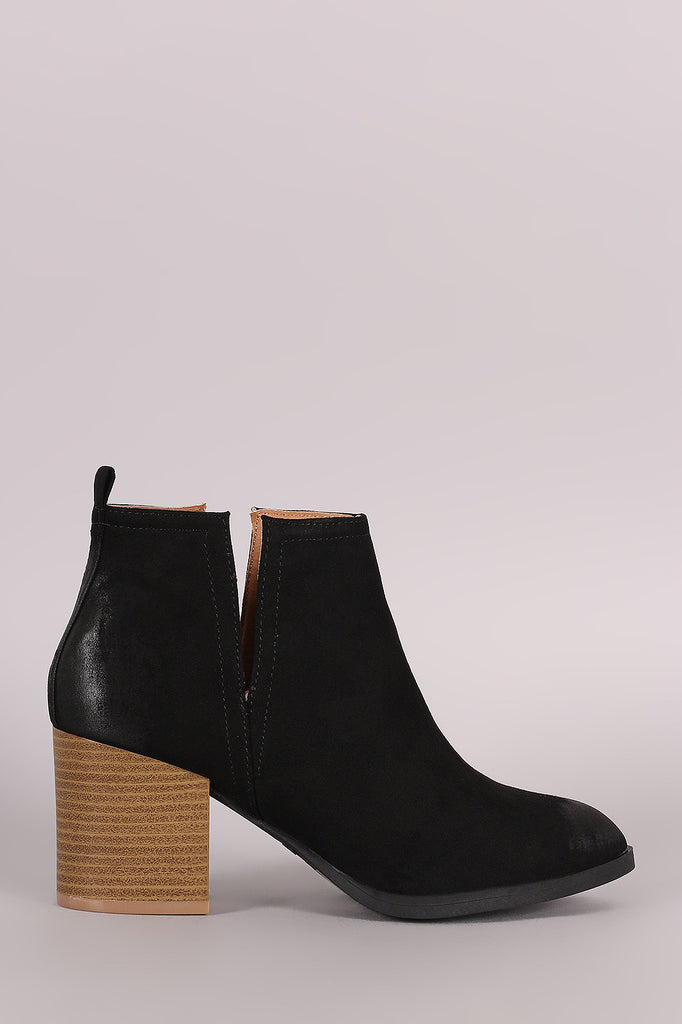 Qupid Suede Side Slit Pointy Toe Chunky Heeled Booties