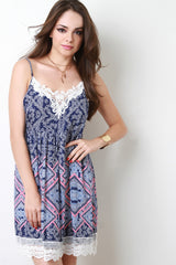 Crochet Trim Open Back Paisley Print Dress