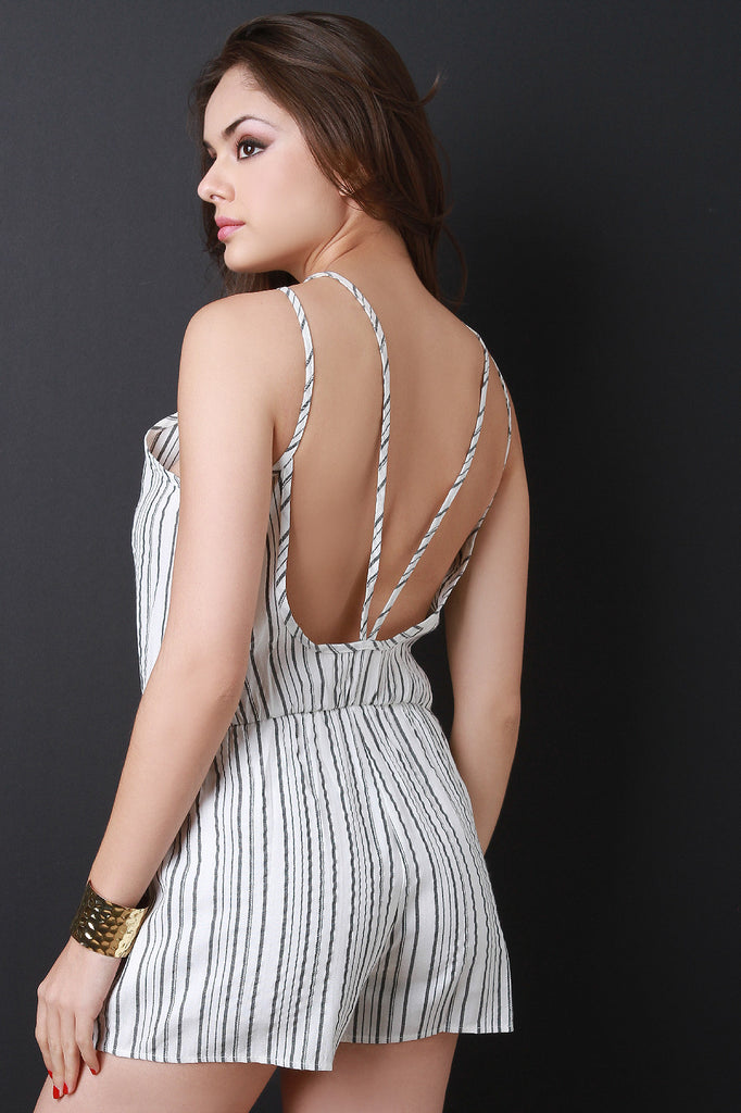 High Neck Striped Open Back Romper