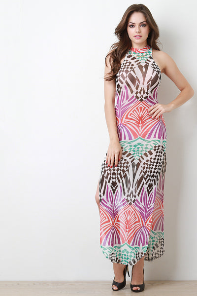 Mock Neck Abstract Mesh Maxi Dress
