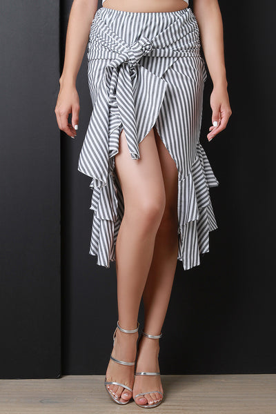 Asymmetrical Wrap Tie Ruffle Skirt