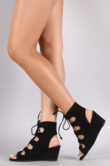 Qupid Suede Corset Lace-Up Ghillie Wedge Sandal