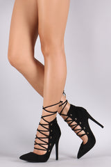 Suede Pointy Toe Lace-Up Stiletto Pump